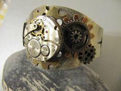 Steampunk Bracelet, Steampunk Cuff, Steampunk Jewelry, Men, Unisex, Watch Parts, Gears, Gift Ideas Under 30 Dollars, Goth L57 on Etsy, $29.00
