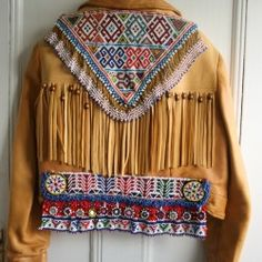 Vintage leather embellished jacket www.gypsyriver.com.au