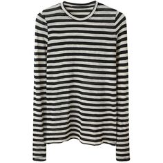 Proenza Schouler Striped Tissue T-Shirt ($375) ❤ liked on Polyvore featuring tops, t-shirts, shirts, sweaters, women, white and black striped shirt, black and white striped t shirt, black and white striped shirt, tissue tee and crew neck t shirt
