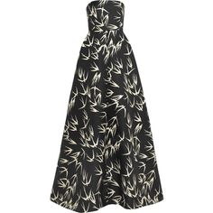 Rochas Strapless printed duchesse-satin gown (7.770.660 IDR) ❤ liked on Polyvore featuring dresses, gowns, black, long evening dresses, strapless dresses, long fitted evening gowns, long dresses and long loose dresses