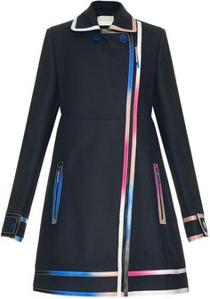 Shop for Multicoloured-ombré leather-seams wool coat by Marco De Vincenzo at ShopStyle. Hi Fashion, Milan Fashion, Navy Coat, Painting Leather, Blue Coats, Oversized Coat, Blue Wool, Wool Coat, Dresses For Work
