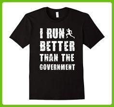 Mens I Run Better Than The Government Funny T shirt - Joke Pun XL Black