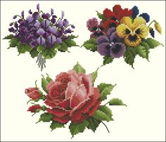 completely revised versionoriginal in Pattern Maker and converted into PCS Lavender & Lace - Tea Garden xsd + pcs Cross Stitch Rose, Cross Stitch Borders, Cross Stitch Flowers, Cross Stitch Designs, Cross Stitching, Cross Stitch Embroidery, Cross Stitch Patterns, Vintage Cross Stitches, Art N Craft