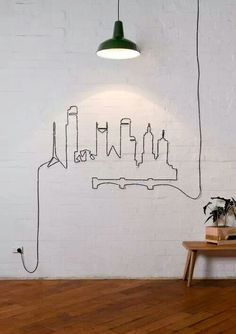 Cool way to make some room with your extra long light cord