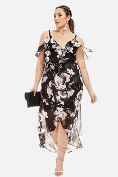 Floral Cold Shoulder Wrap Dress Plus Size #plussize #fashionaddict aff