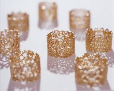 gold lace rings by Carla Nuis Diy Jewelry, Jewelry Rings, Jewelry Box, Jewelry Accessories, Fashion Accessories, Jewelry Design, Jewelry Making, Jewlery, Gold Jewelry