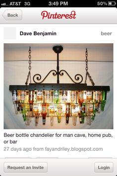 Guys room beer bottle lamp
