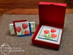 Pizza Box, Stampin Up, Tulips, Real Red, Calypso, Pacific Blue, Wasabi Green