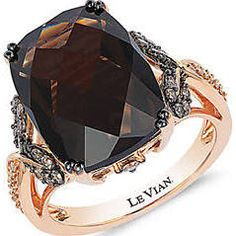 Levian 14K Rose Gold Smoky Quartz and Diamond Ring Women's Rose Gold 7