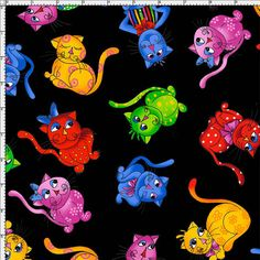 Tossed Cool Cats Black Fabric - Fabric – Loralie Designs