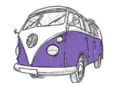 VW Campervan Split Screen Purple by 30two (Duncan Rynehart)