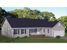 078H-0055: Small Traditional House Plan; 3 Bedrooms, 2 Baths, 2-Car Garage