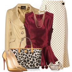 A fashion look from January 2014 featuring Vivienne Westwood Anglomania jackets, Geoffrey Beene skirts and Christian Louboutin pumps. Browse and shop related l… Classy Outfits, Chic Outfits, Pretty Outfits, Diva Fashion, Womens Fashion, Modelos Fashion, Professional Outfits, Well Dressed, Ideias Fashion