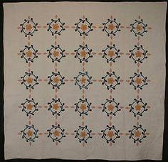 Miniature Floral Couronnes Quilt: Circa 1870;  Pennsylvanie.