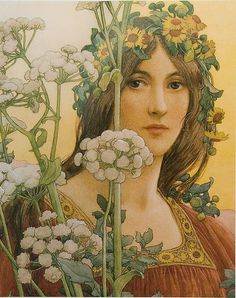 Elisabeth Sonrel , 1874-1953 our lady of the cow parsley watercolour with bodycolour over pencil, via Maulleigh