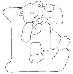Escuela infantil castillo de Blanca: ALFABETO OSOS PARA COLOREAR Embroidery Patterns Free, Quilt Patterns, Diy Teddy Bear, Alphabet Templates, Alphabet For Kids, Green Quilt, Alphabet Coloring, Cross Stitch Alphabet, Baby Quilts