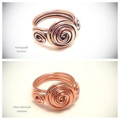 Wire wrapped ring. Copper wire ring. Wire jewelry. Copper wire