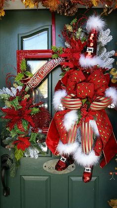 Santa Claus Wreath Christmas Wreath Santa Merry by FrontDoorWhimsy