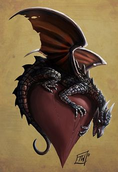 Dragon on Heart Illustration Picture illustration, dragon, heart, fantasy) Magical Creatures, Fantasy Creatures, Fantasy Dragon, Fantasy Art, Elfen Fantasy, Arte Alien, Dragon Dreaming, Dragon Heart, Red Dragon