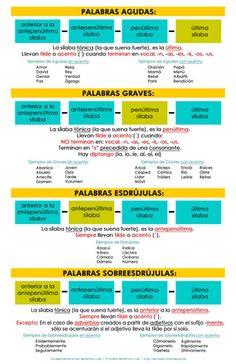 Infografía sobre las palabras Agudas, Graves, Esdrújulas y Sobreesdrújulas, con ejemplos.