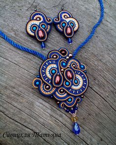 Soutache Statement Set Soutache Blue Pendant by MagicalSoutache Fabric Jewelry, Boho Jewelry, Beaded Jewelry, Handmade Jewelry, Jewelry Design, Handmade Necklaces, Soutache Pendant, Soutache Necklace, Soutache Tutorial