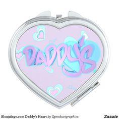 Blox3dnyc.com Daddy's Heart Makeup Mirror. #heart #gift #daughter #daddy's #heart #blue #pink #girlie #girl