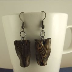 Cute Wood like (FIMO) clay earrings perfect gift ideas, anniversary, lightweight, antique wire, fish hook, for any occasion, treat for You. by FlordaVida on Etsy