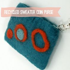 Recycled Sweater Coin Purse with needle felting and sizzix cut felt shapes