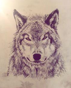 Wolf  Fusain sur bois @joy_grimal_art