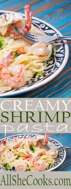 Enjoy this easy shrimp pasta recipe. Simple recipe with creamy pasta, shrimp and some broccoli. The sauce mixes up quickly and is so tasty.