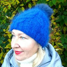 """Handmade knitted original hat with bubo. Knitting shallow in two threads. Very light, warm, tender and """"soft"""". Shallow, Handicraft, Knitted Hats, Knitwear, Composition, Winter Hats, Cold, Warm, Knitting"""