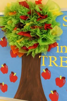 """tree-mendous"" apple tree with tissue paper ~ cute! by Johana Ramos"