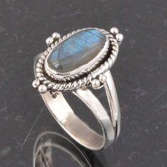 BLUE FIRE LABRADORITE 925 SOLID STERLING SILVER FASHION RING 4.55g DJR6396 #Handmade #Ring