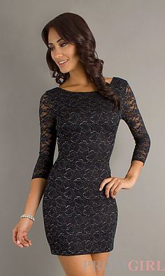 Short Lace Dress with Sleeves at PromGirl.com