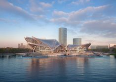 """According to Zaha Hadid Architects, the goal for the building is for it to become """"a hub of contemporary creativity"""" for the region. Arquitectos Zaha Hadid, Zaha Hadid Architects, Zhuhai, China Image, Migratory Birds, Roof Structure, Glass Facades, Unique Buildings, Architect Design"""