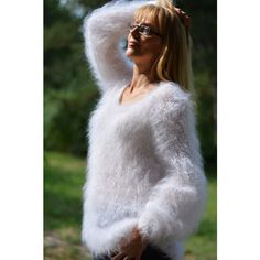 Items similar to handmade mohair sweater slouchy mohair crewneck sweater fuzzy mohair sweater white summer sweater hand knitted sweater one size sweater M-XL on Etsy Summer Sweaters, White Sweaters, Women's Sweaters, Hand Knitted Sweaters, Mohair Sweater, Extreme Knitting, White V Necks, Hand Knitting, Pullover