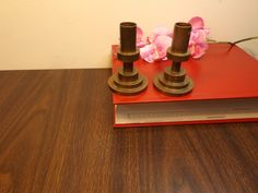 """Vintage pair of bronze candle holders , home decor.3.5""""H .Classic Sabbatical candle holders.Mantle decor by HuntWithJoy on Etsy"""