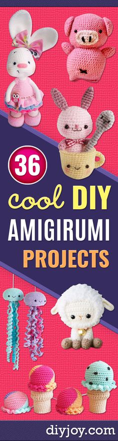 Free Amigurumi Patterns For Beginners and Pros - Easy Amigurimi Tutorials With Step by Step Instructions - Learn How To Crochet Cute Amigurimi Animals, Doll, Mobile, Mini Elephant, Cat, Dinosaur, Owl, Bunny, Dog - Creative Ways to Crochet Cool DIY Gifts for Kids, Teens, Baby and Adults http://diyjoy.com/free-amigurumi-patterns