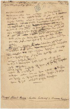 Original manuscript page of Karl Marx's Communist Manifesto.