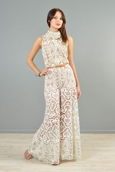 1960s Zip-Front Deadstock Lace Palazzo Jumpsuit | BUSTOWN MODERN