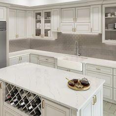 Quartz Kitchen Countertops, White Granite Countertops, Quartz Countertops Colors, Lowes Countertops, Diy Kitchen, Marble Kitchen Ideas, Kitchen With White Countertops, Country Kitchen, White Kitchen Designs