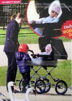 Prince George with his scooter and Nanny Maria with baby Charlotte on a stroll in Fall of 2015.