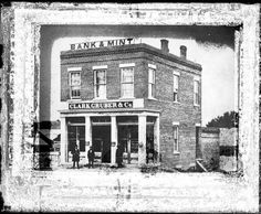 """* * The First Denver """"Mint"""" * *  ca 1860  The Clark, Gruber & Co. Bank and Mint was located at McGaa & 'G' Streets (now 16th and Market Streets). they minted $10 and $20 gold pieces until 1863 when the Federal Gov't bought them out. The Feds never minted anything here and the building was torn down in 1909."""