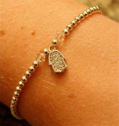 Silver Beaded Bracelet with Swarovski Crystal Beads and Silver and Rhinestone Hamsa