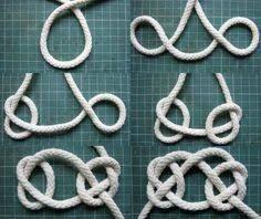 İlgili resim Diy Jewelry Projects, Jewelry Making Tutorials, Celtic Crafts, Knots Guide, Decorative Knots, Weaving Designs, Macrame Tutorial, Rope Necklace, Weaving Art