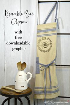 Tutorial to make a DIY bumble bee apron with free graphic you can use. Easy to make, just print on transfer paper, iron onto your favorite apron or fabric. Easy DIY tutorial!