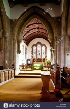 Interior of Church of the Holy Cross, a typical English village church in Sherston, Wiltshire, England, UK Stock Photo A Typical, English Village, Holy Cross, England Uk, Holi, Vectors, Illustrations, Stock Photos, Mansions