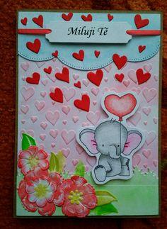 Zamilované ♥ #love #elephant #heart #loveyou #cardmaking #papercard #handmade #flower #valentine