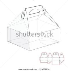 Cake Carrier Box with Die Line Template