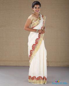 Designer kerala saree Saree Painting, Mural Painting, Mural Art, Fabric Painting, Indian Clothes, Indian Outfits, Kerala Saree, Maggam Works, White Saree